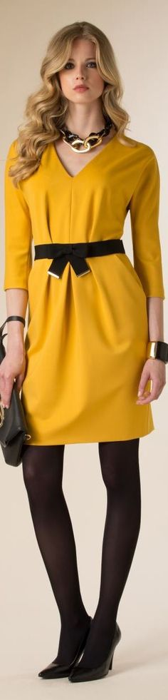Luisa Spagnoli 2015/16 yellow dress women fashion outfit clothing style apparel @roressclothes closet ideas