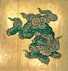 Komainu-Portraits – Religion-in-Japan Japanese Drawings, Japanese Artwork, Japanese Tattoo Art, Japanese Sleeve Tattoos, Japanese Prints, Foo Dog Tattoo, Dog Tattoos, Japan Illustration, Japan Design