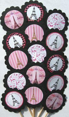 Eiffel Tower Paris Cupcake Toppers/Party Picks Item #206 15pc Set