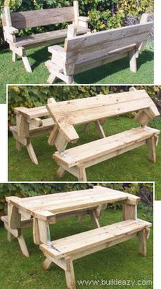Learn how to make this great Diy folding picnic table. I love the way it can be a picnic table or 2 benches. You have to love anything that does double dut Diy Projects To Try, Home Projects, Garden Cottage, Home And Garden, Garden Living, Folding Picnic Table Plans, Picnic Tables, Ideias Diy, Outdoor Living