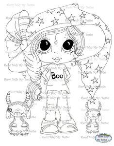 INSTANT DOWNLOAD Digital Digi Stamps Big Eye Big Head Dolls Digi Trixie Boo Beasties By Sherri Baldy