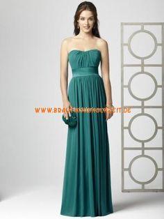 Schlichtes schönes Abendkleid aus Chiffon Bodenlang Trägerlos A-Linie