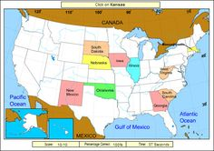 Free online game for practicing state locations - State name is announced and player must click on state. Game keeps score and shows the correct locations for states that are missed.