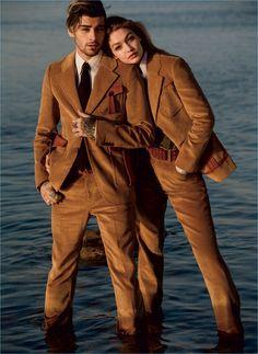 Couple Zayn Malik and Gigi Hadid wear brown corduroy looks from Prada for Vogue.