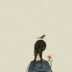 Otto Kim Little bird told me. Illustration Girl, Illustrations And Posters, Cute Drawings, Zine, Cute Art, Art Day, Art Girl, Watercolor Art, Anime Art