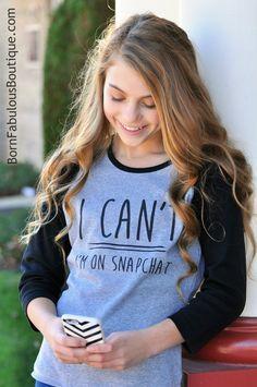 SALE Cute Girls Raglan 16 Sayings I Can't I have dance cheer gymnastics i'm on snapchat instagram. cute shirt for tweens teens. by BornFabulousKids