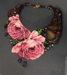 Колье, бусы ручной работы. Ярмарка Мастеров - ручная работа. Купить La rose sauvage - Дикая роза , колье. Handmade.