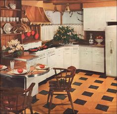 This magazine cover features a modern take on the popular Early American style that people favored after World War II. Steel cabinets and copper in the hood and fixtures were a few of the trends during the early 50s.    Ewwwww...colors!!