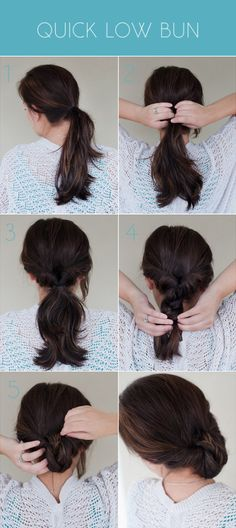 Super simple five step tutorial for turning a topsy turvy ponytail into a chic low bun.