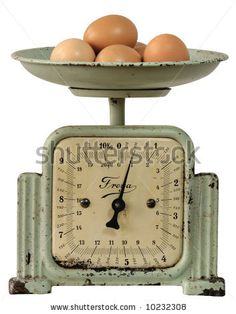 Antique Kitchen-Scales With Brown Eggs