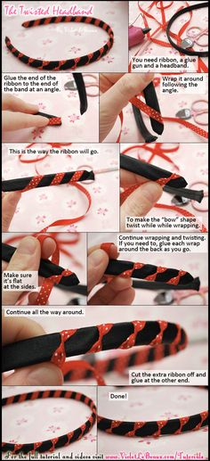 A simple craft tutorial on how to make a headband which looks like it has small bows all over it.    Original full instructions here: http://violetlebeaux.com/2011/09/simple-headband-modification/