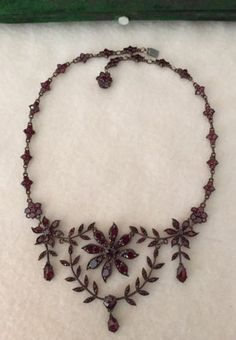 "Victorian Bohemian Garnet Garland & Swag 15"" Necklace Choker w/ Antique Box  in Jewelry & Watches, Vintage & Antique Jewelry, Fine, Victorian, Edwardian 1837-1910, Necklaces & Pendants 