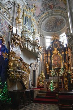 Christmas time at St. Andrew's Church in Krakow, Poland