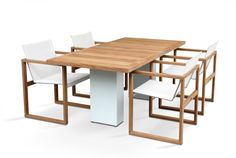 Classic style lacquered stainless steel garden table DOBLE | Teak table - FueraDentro