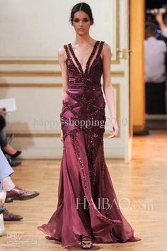 Fashion Show Pageant Dresses By Zuhair Murad 2014 Deep V-neck Sequin&Bead…