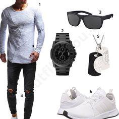 Männer-Style in Schwarz und Weiß mit Dog Tag (m0369) #outfit #style #fashion #menswear #mensfashion #inspiration #shirt #cloth #clothing #männermode #herrenmode #shirt #mode #styling #sneaker #menstyle