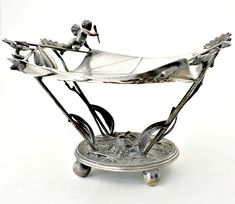 Antique Victorian Quadruple Plated Card Receiver Cupid. #FrenchGardenHouse