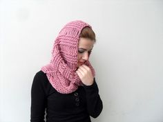 Hooded Scarf in Rose Pink Blush Carmine Crimson by SmilingKnitting, $45.00