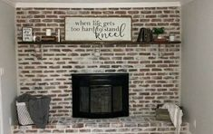 How to Paint a German Schmear Fireplace Makeover DIY Have a dark fireplace that needs a fresh new look? Brick Accent Walls, Faux Brick Walls, Brick Paneling, Fireplace Update, Brick Fireplace Makeover, Faux Fireplace, Fireplace Refacing, Fireplace Mantles, Fireplace Decorations