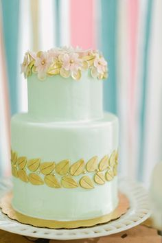 Mint and gold wedding cake