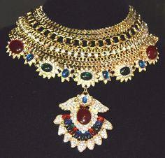 Vintage Jewels of INDIA Kenneth Jay LANE KJL Crystal Necklace Gold Tone Unsigned #unsignedKennethJayLane