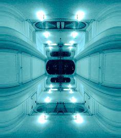 #reflection #mirror #architecture #space #blue #window #corridor #symmetry creation © Jonathan Stutz