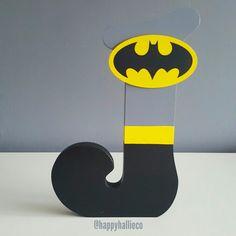 Batman themed J wooden letter https://www.etsy.com/happyhallieco/