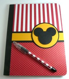 Mickey Notebook, make yourself, put a picture of disney character on each page for autographs in ABC order Disney Cards, Disney Diy, Disney Love, Disney 2015, Disney Stuff, Disneyland Trip, Disney Vacations, Disney Trips, Disney Cruise