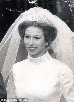 Princess Anne in diamond tiara on her wedding day, the same tiara her mother wore on her wedding day in 1947