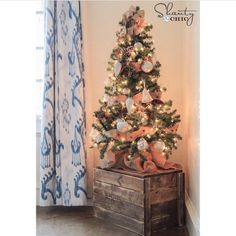 """Don't have space for a big tree?  Put a small one on a crate!  Free plans on our site! ❤️ #shanty2chic #christmas #christmastree"""