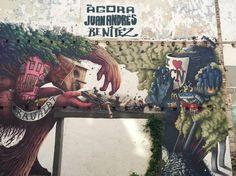 Obra anónima en la Ágora Juan Andrés, un espacio liberado del barrio del Raval en memoria a Juan Andrés Benítez, asesinado por la policía el 5 de octubre de 2013. Esta imagen es claramente impactante tanto por su representación  y significado como por su técnica y uso del color. #ArtSocietatEducació2016 #graffiti #grupB