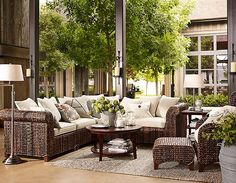 Seagrass collection from Pottery Barn. This is the best I've seen of an outdoor living room - elegant!