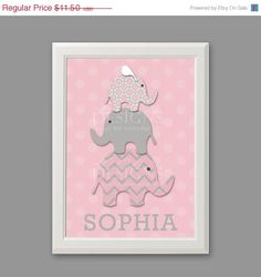 15 OFF Stacked Pink Elephants Custom Nursery Art by LOlsonDesigns, $9.78