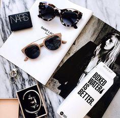 sunglasses, magazine, and nars image