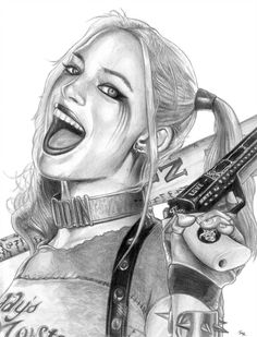 Zoom (The Flash) by on DeviantArt - Harley Quinn (Suicide Squad) by Harley Quinn Tattoo, Joker Und Harley Quinn, Harley Quinn Drawing, Joker Drawings, Marvel Drawings, Cool Art Drawings, Art Drawings Sketches, Zeichnung Marilyn Monroe, Joker Kunst