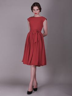Button Up Back Vintage Dress with Cap Sleeves