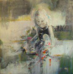 Tasos Dimos, Picking Flowers, 2012 Acrylic on Canvas