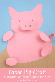 This fun paper pig craft for kids is so cute! 2019 is the year of the pig, celebrate with this fun construction paper craft that kids will love to make! Pig Crafts, Farm Crafts, Craft Stick Crafts, Diy Craft Projects, Craft Ideas, Kid Projects, School Projects, Animal Crafts For Kids, Paper Crafts For Kids