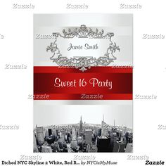Etched NYC Skyline 2 White, Red Ribbon Sweet 16