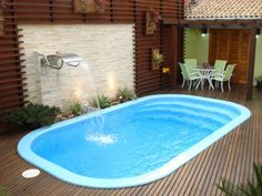Image result for piscina de fibra para quintal pequeno