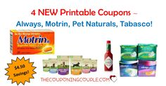 4 New Printable Coupons were released today! Always, Motrin, Pet Naturals & Tabasco with a total savings of $4.50!  Click the link below to get all of the details ► http://www.thecouponingcouple.com/4-new-printable-coupons-4-28-17/ #Coupons #Couponing #CouponCommunity  Visit us at http://www.thecouponingcouple.com for more great posts!