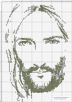 Jesus Christ, counted cross stitch. The directions  promise an epiphany by the time you get to the eyebrows.