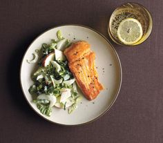 The no-cook slaw is what speeds up this dish: Combine sliced bok choy with apples, scallions, and plain yogurt to add creaminess. (Plain Baking Salmon)