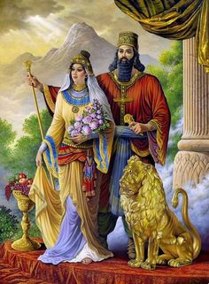 Kings of Iran. Darius the King of Achaemenid and Queen Atousa (Cyrus the Great daughter) Ancient Mesopotamia, Ancient Civilizations, Ancient Aliens, Ancient History, European History, American History, Persian Warrior, King Of Persia, Greek Mythology