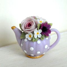 1/12TH scale  romantic chic floral teapot in pale purple  by 64tnt