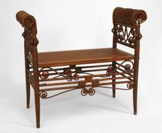 American Victorian natural wicker Turkish style bench with open design side arms and woven seat