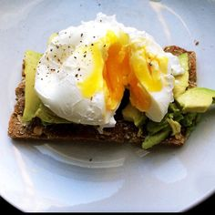 Poached egg with avocado on wasa.  Really yummy breakfast.