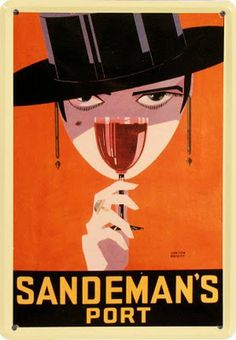 Sandeman Port by Loxton Knight Art Deco Posters Drink Vintage Prints Retro Poster, Posters Vintage, Vintage Advertising Posters, Art Deco Posters, Vintage Advertisements, Poster Prints, Advertising Design, Wine Advertising, Art Deco Illustration