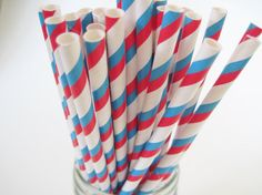 50 Bright Blue and Red Stripe Straws  Dr by CreativeJuiceCafe, $6.49