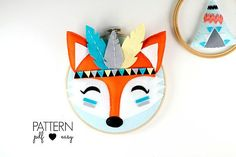 DIY Hoop Art Pattern Tribal Nursery Art Fox Pattern Fox